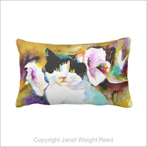 """Christeve the Cat with Hummingbird"" Print Outdoor Pillow"