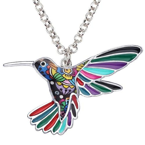 Colorful Hummingbird Pendant with Chain - Six Varieties