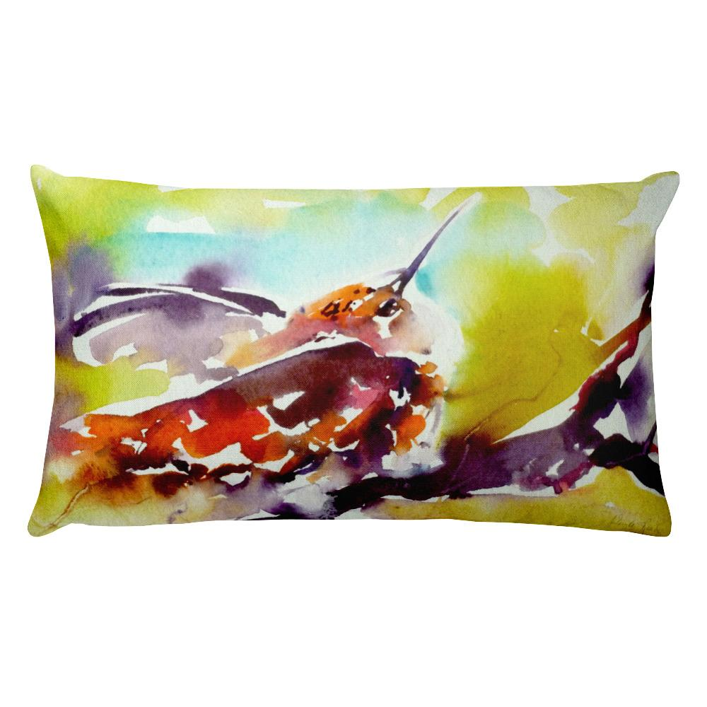 "Gifts - ""Evening Perch"" Hummingbird Pillow"