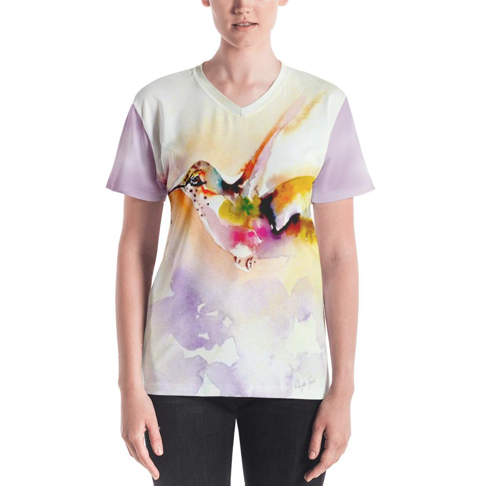 "Gifts - ""In The Pink"" Hummingbird Print - Women's V-neck"