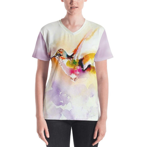 """In the Pink"" Hummingbird Print - Women's V-neck"