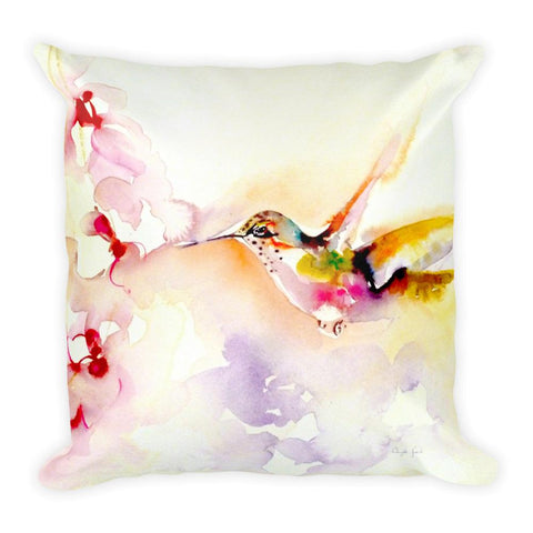 """In the Pink"" Hummingbird Square Pillow"
