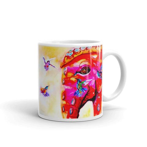 """Magic in All Sizes"" Elephant & Hummingbird Mug"
