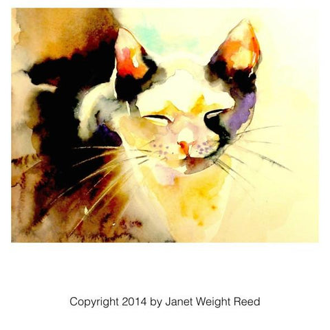 """Content Afternoon"" Cat Print by Janet Weight Reed"