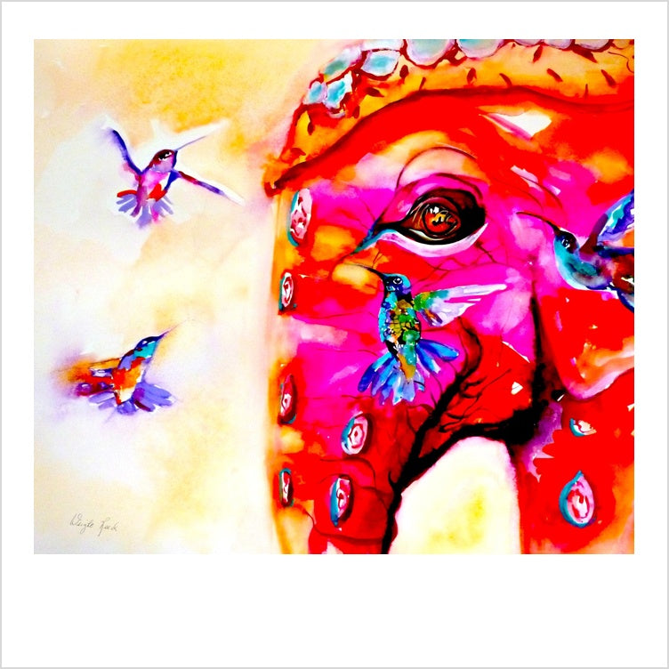 "Janet Weight Reed Collection - ""Magic In All Sizes"" Elephant And Hummingbirds Print By Janet Weight Reed"