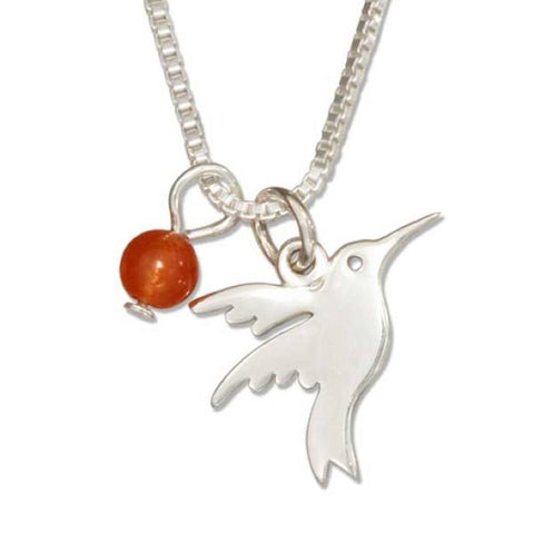 "Sterling Silver 18"" Silhouette Hummingbird Necklace w/ Dark Orange Quartz Bead"