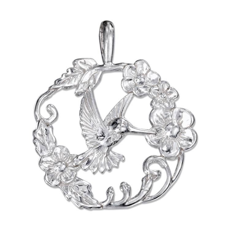 Jewelry - Sterling Silver Hummingbird Pendant In A Ring Of Flowers