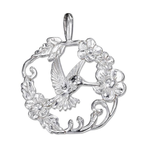 Sterling Silver Hummingbird Pendant in a Ring of Flowers