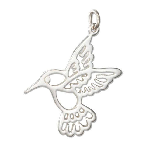 Sterling Silver Silhouette Hummingbird Charm