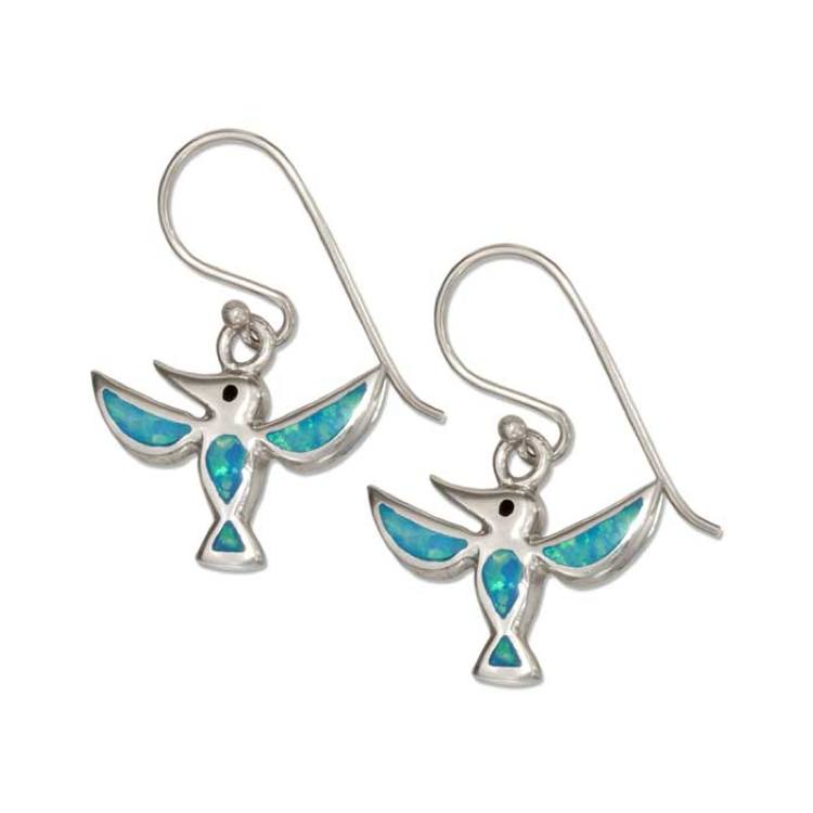 Jewelry - Sterling Silver Synthetic Blue Opal Hummingbird Earrings
