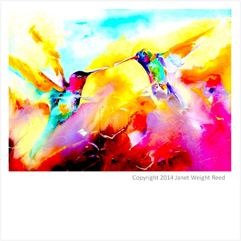 """Dancing in Color"" Hummingbird Print on Aluminum by Janet Weight Reed"