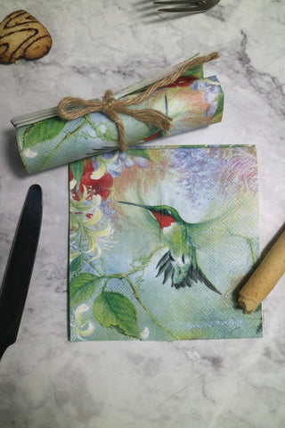 25cm 20 paper napkin tissue cute Hummingbird flower handkerchief oil craft decoupage girl boy kid party wedding serviettes deco