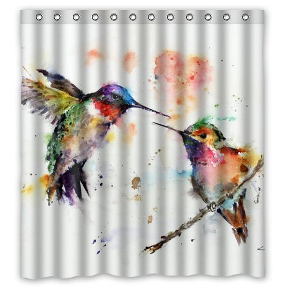66(w) x 72(h) Watercolor Hummingbird Art Theme Painting 100% Polyester Bathroom Shower Curtain Shower Rings Included