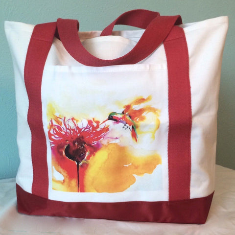 "Tote Bag with ""Thistle for One"" Hummingbird Print by Janet Weight Reed"