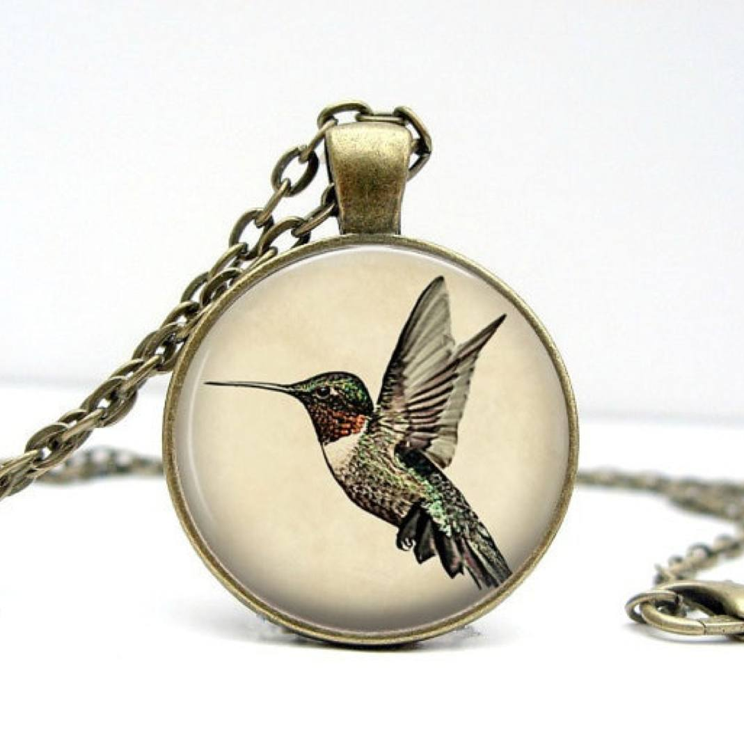 Vintage Bronze Hummingbird Pendant Necklace