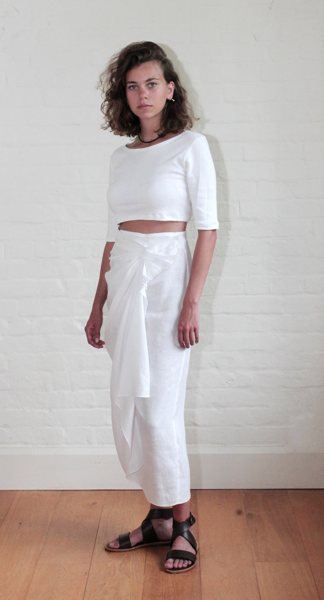 Long Wrap Skirt Linen White