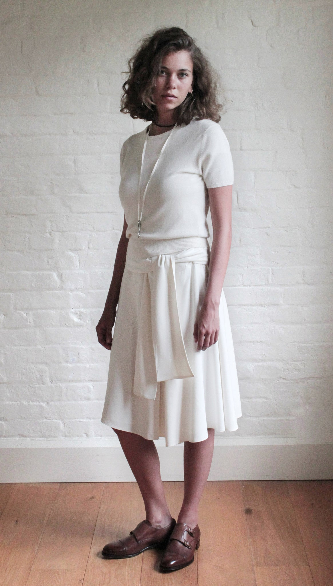 Sand-Washed Silk Skirt with Tie