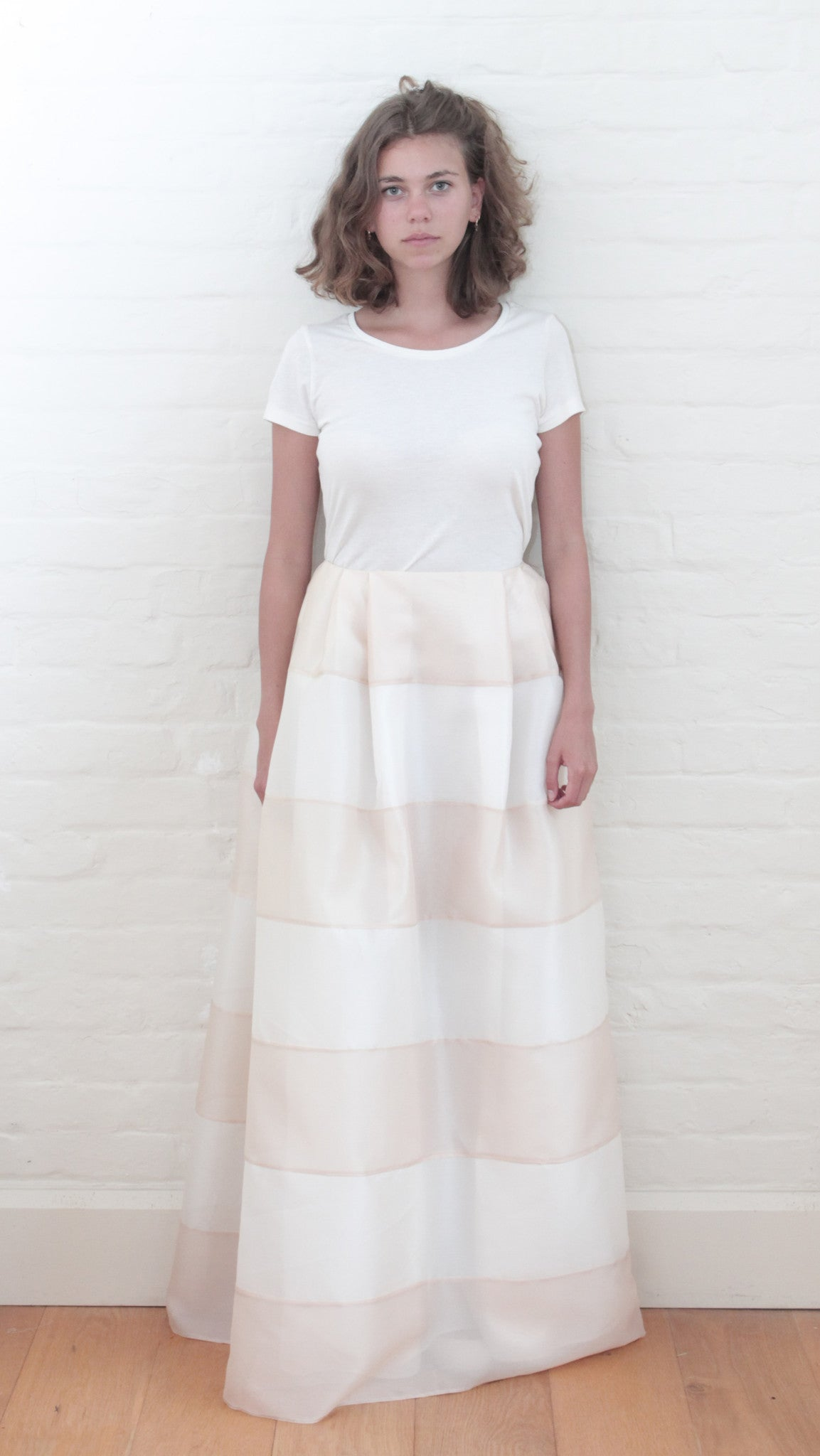 Ball Skirt Striped Apricot & Cream Silk