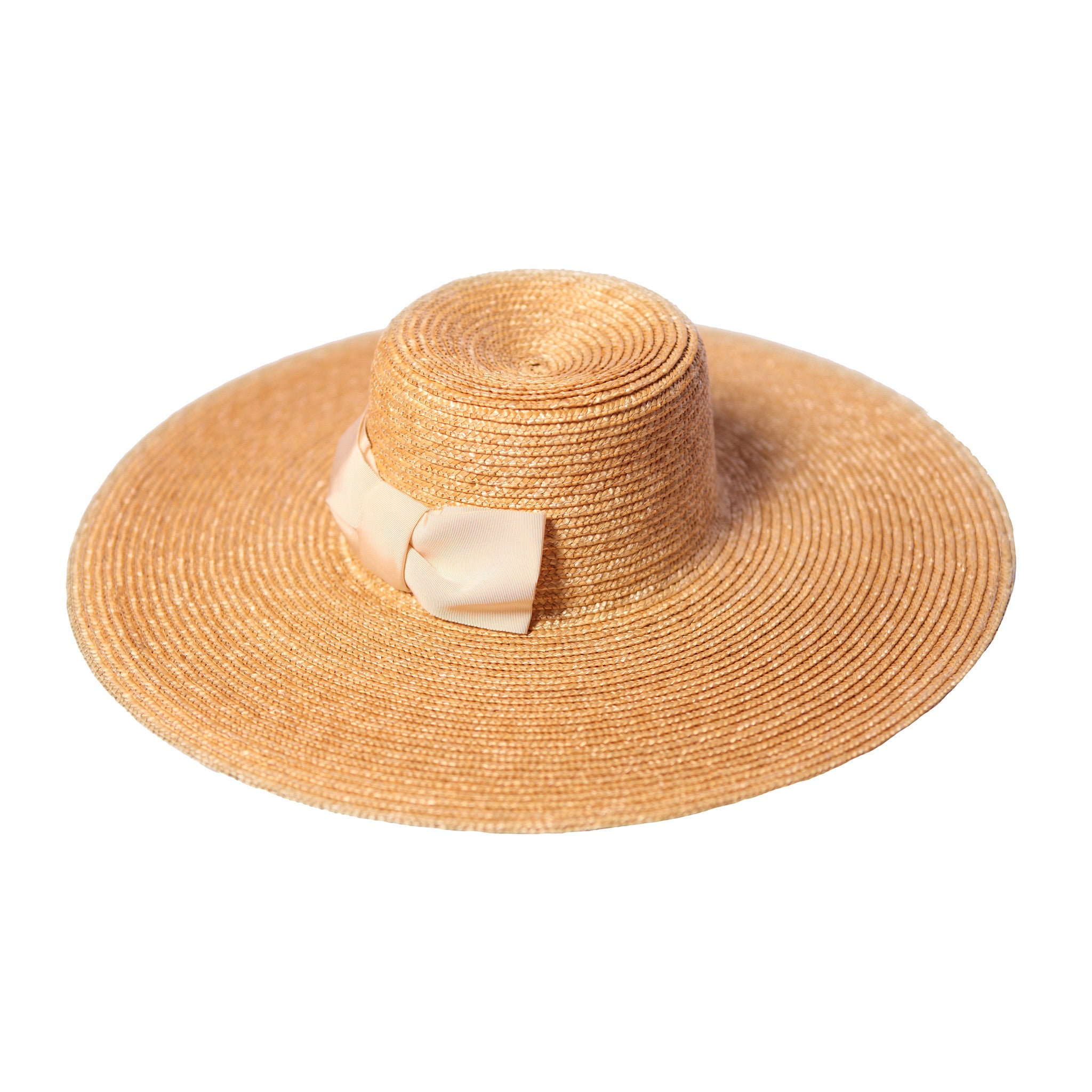 Large Brim Straw Hat Cream Bow