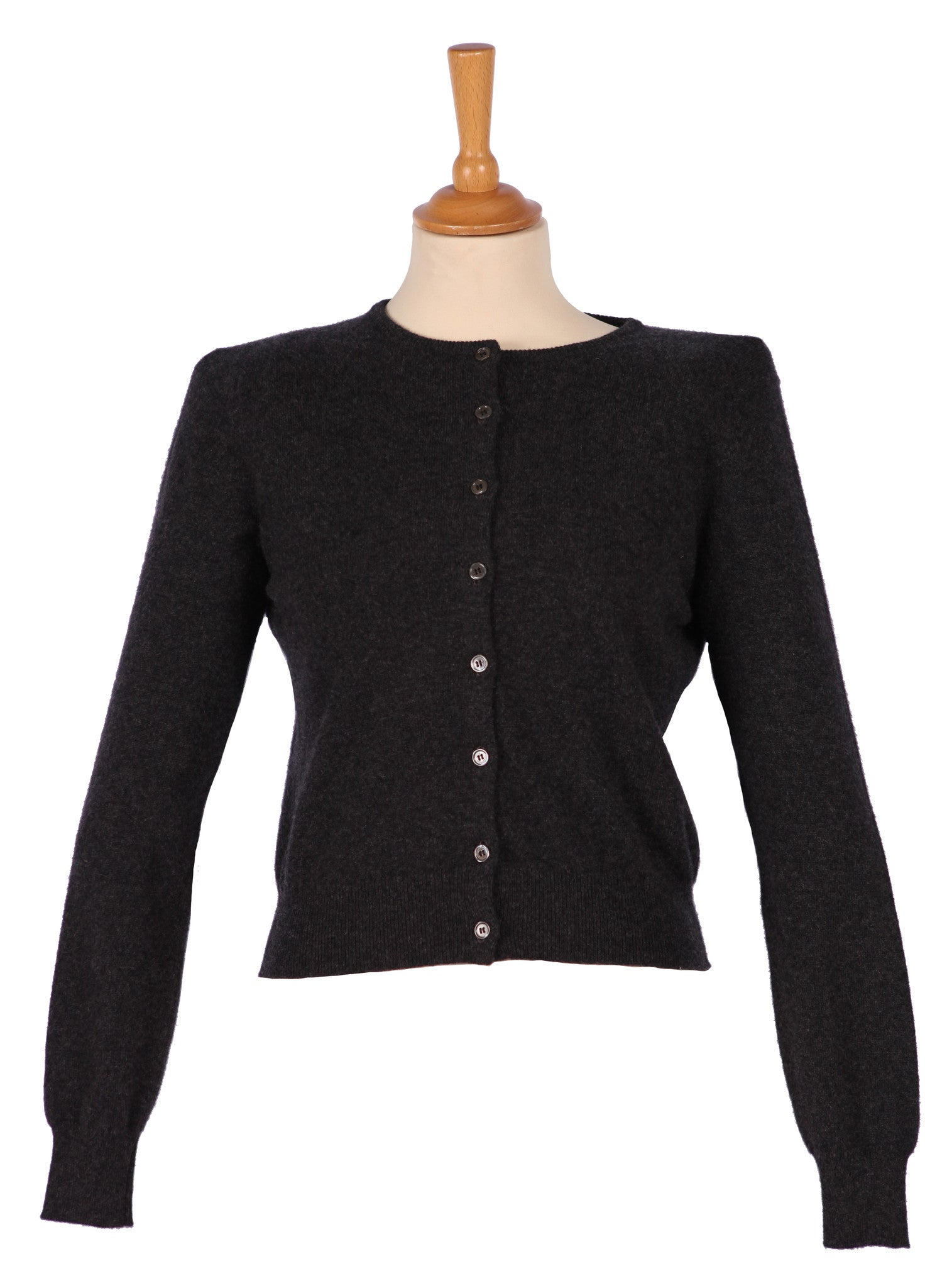 Cashmere Cropped Classic Cardigan Dark Charcoal - Jenny M. London  - 1