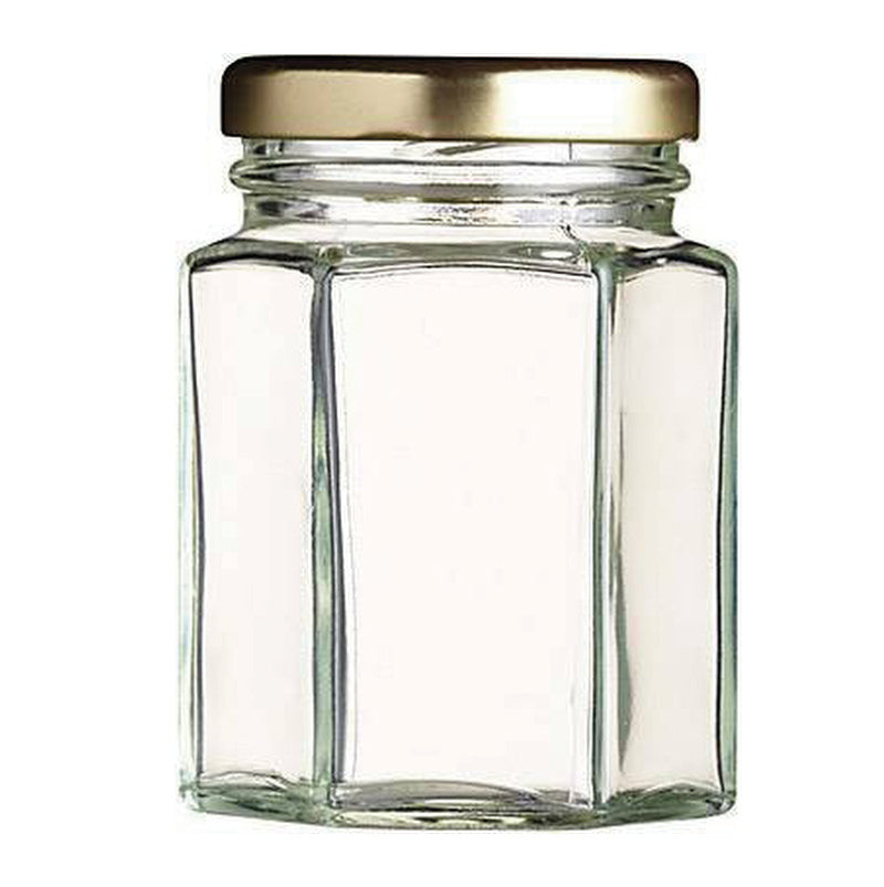 HEXAGONAL JARS 8OZ (227G) WITH LIDS (BOX OF 41)