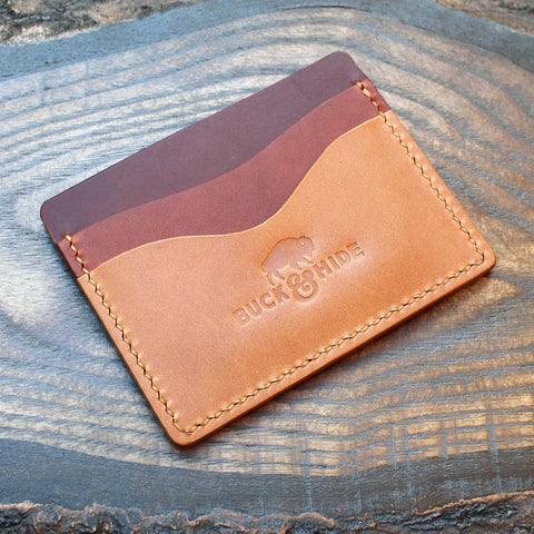 Cognac, chestnut & tan Buttero five-slot card holder.