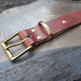 Oak tanned heavy duty leather belt