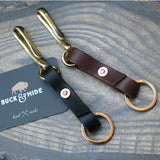 Brass fish hook and leather key holder. - Buck&Hide