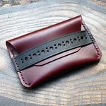 Brogue leather card holder, two-tone Buttero