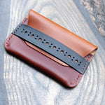 Double pocket brogue card holder, Buttero leather
