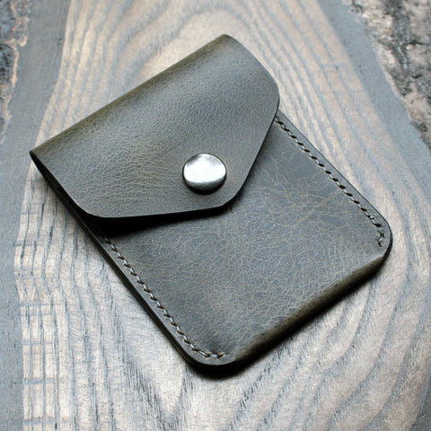 Vertical snap pouch, steel grey Badalassi Wax