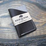 Anthacite grey Hunter leather minimalist credit card sleeve. - Buck&Hide