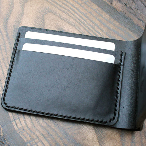 Traditional billfold black Lamport leather wallet, cash and cards. - Buck&Hide