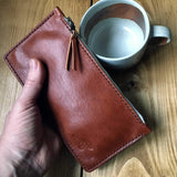 Large leather zipper travel pouch. - Buck&Hide