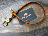 Saddle tan leather wallet leash, brass or silver hardware - Buck&Hide