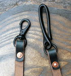 Horween navy Chromexcel lanyard, matt black fish hook