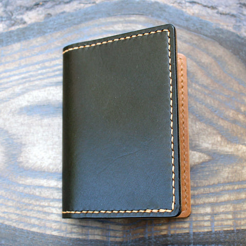 Black Minerva and tan Buttero bi-fold wallet - Buck&Hide