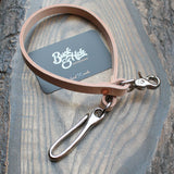 Natural veg-tan wallet lanyard, nickel fish hook