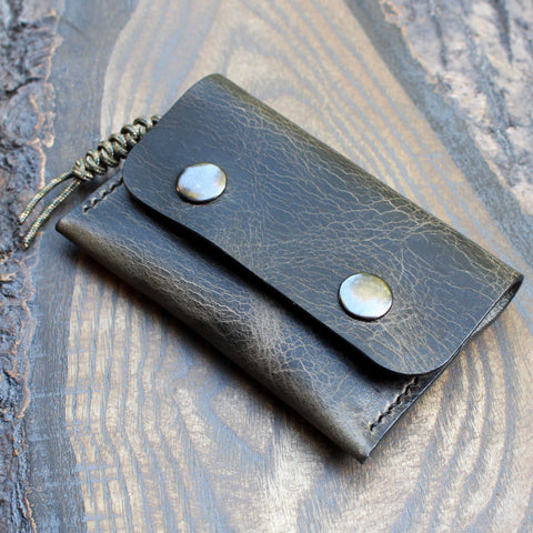 Snap pouch in steel grey Badalassi Wax