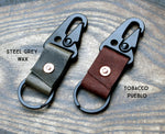 Black metal & leather carabiner key clip