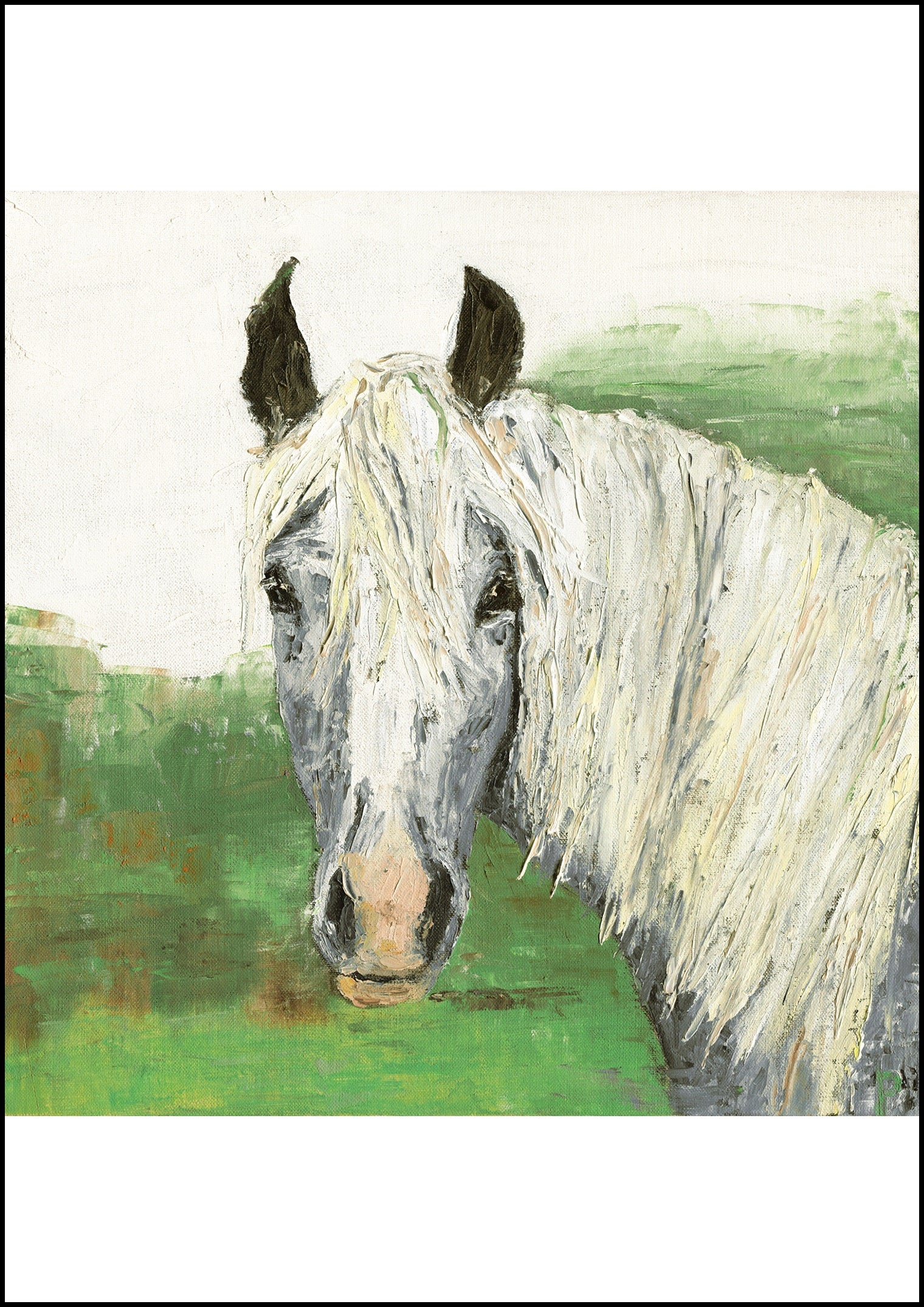 Inquisitive - Grey Horse Portrait Print & Original Equestrian Oil Painting for Sale