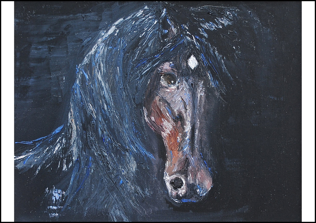 Midnight - Contemporary Horse Portrait by Linda Westall
