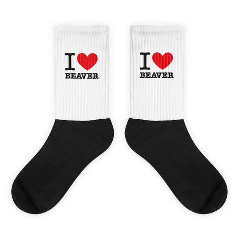 I Heart Beaver Tube Socks