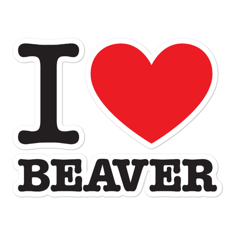 I Heart Beaver Sticker Stacked