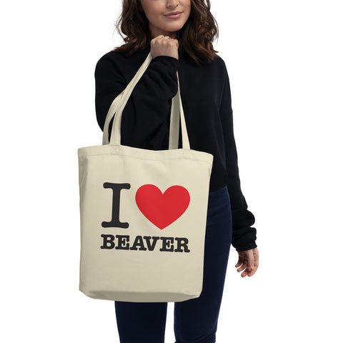 I Heart Beaver 100% Organic Eco Tote Bag