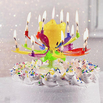 Multicolour Musical Lotus Rotating Birthday Candle