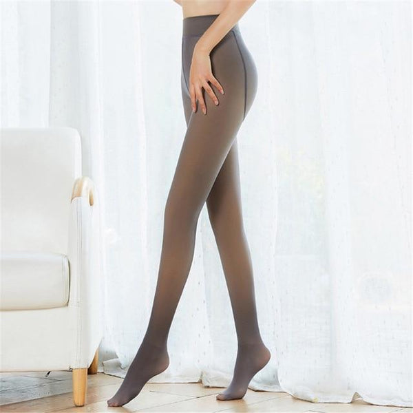 Fake Translucent Warm Fleece Tights - Perfect Legs