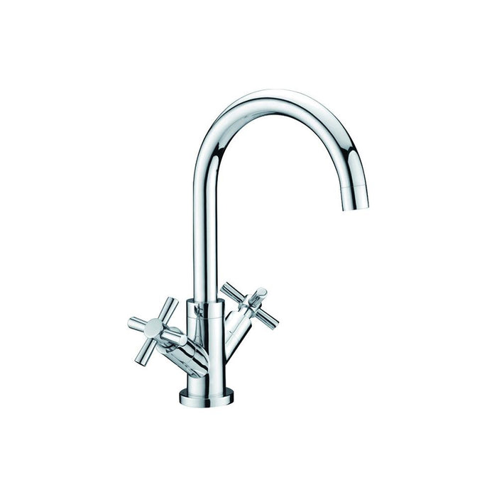 Kitchen Prima Dual Handle Swan Neck QT Mixer Tap Chrome