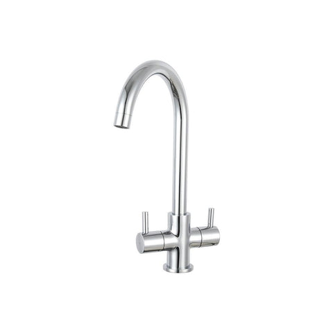 Kitchen Prima Dual Lever Staten Swan Neck Mixer Tap Chrome