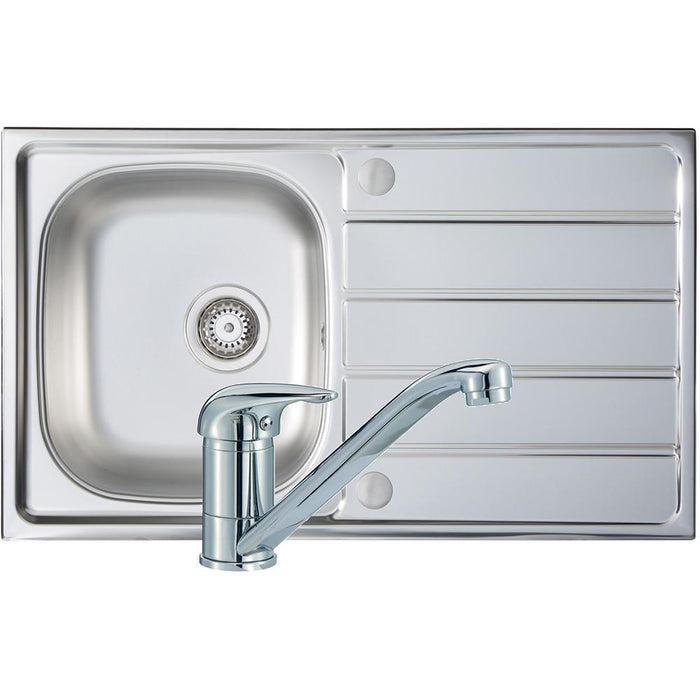 Prima Polished Stainless Steel Compact 1B Sink & Tap Pack